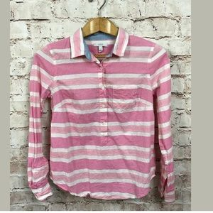 J Crew Pink White Top 4 Tunic Cotton Long Sleeve